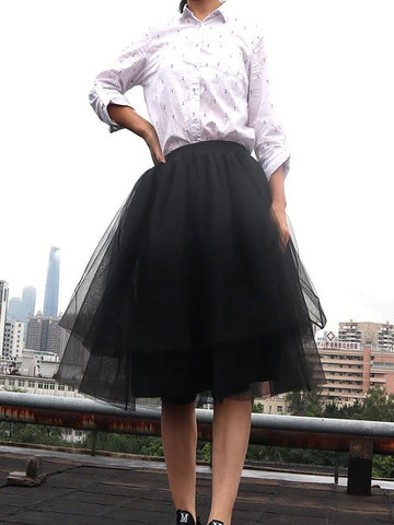 New Black Patchwork Grenadine Pleated Plus Size High Waisted Tutu Cute Homecoming Party Skirt