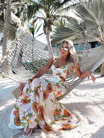 Chiffon Floral Hollow Maxi Dresses