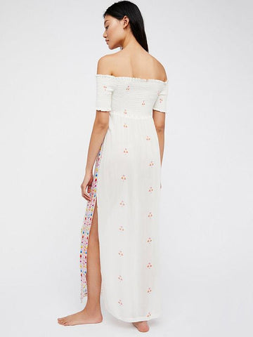 Bohemia Off-the shoulder Split-joint Maxi Dress