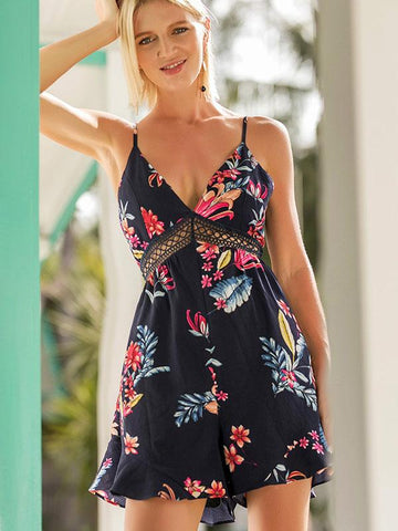 Bohemia Printed Backless Condole Belt Rompers