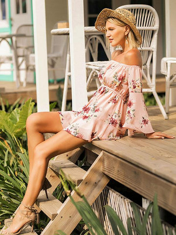 Off-the-shoulder Printed Condole Belt Rompers