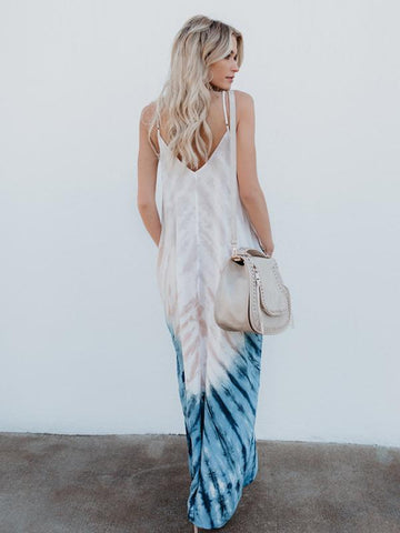 Bohemia Printed Spaghetti-neck Maxi Dress