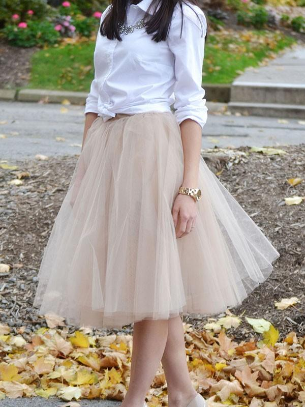 New Apricot Patchwork Grenadine Pleated Plus Size High Waisted Tutu Cute Homecoming Party Skirt