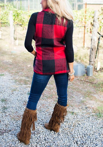 New Red-Black Plaid Print Pockets Turndown Collar Fall Cardigan Vest