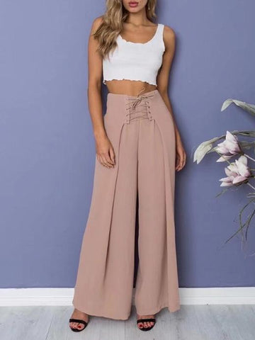 Solid Color Wide Leg Bottom Casual Pants