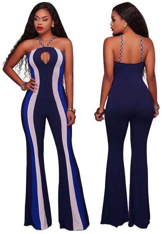 Blue Striped Cut Out Backless Spaghetti Strap Fashion Wide Leg Long Jumpsuit