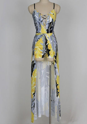 Yellow-Grey Leaves Print Deep V-neck Vintage Short Jumpsuit With Maxi Overlay