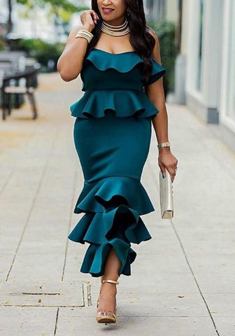 Dark Green Ruffle Bandeau Off Shoulder Backless Zipper Elegant Mermaid Party Midi Dress