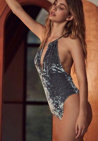 Grey Irregular Backless Plunging Neckline Casual Swimwear