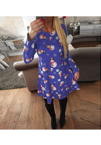 Blue Cartoon Print Round Neck Fashion Midi Dress