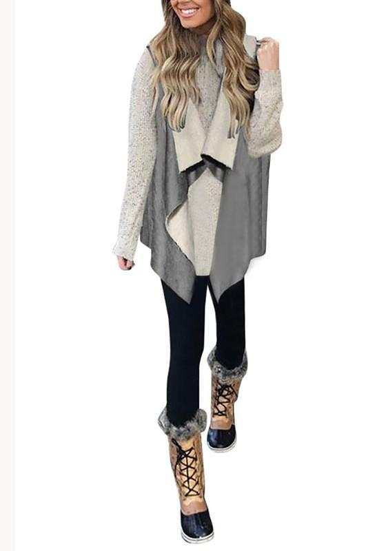 Grey Plain Irregular Turndown Collar Sleeveless Fashion Coat