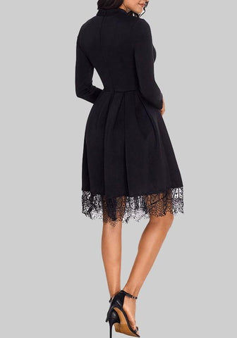 Black Patchwork Lace High Waisted Skater Tutu Homecoming Valentine's Day Party Midi Dress