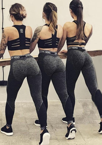 Grey Patchwork Monogram Heart Pattern High Waisted Sports Yoga Long Legging