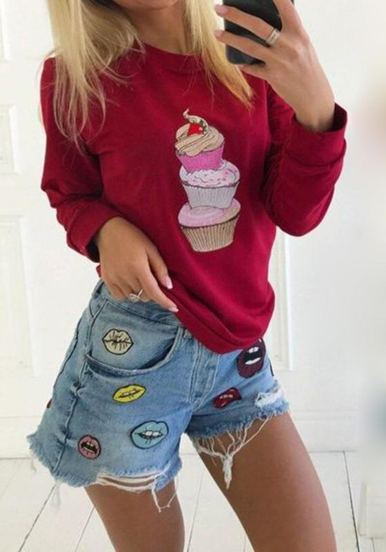 Red Cup Cake Cartoon Print Round Neck Comfy Casual Cute Cheap Pullover Sweatshirt
