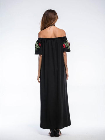 Pretty Sexy Solid Color Inwrought Floral Short Sleeve Off-Shoulder Maxi Dress