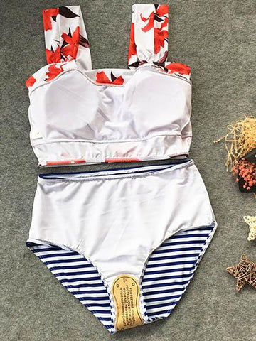 Cute Striped Tank High Waist Bikini Set