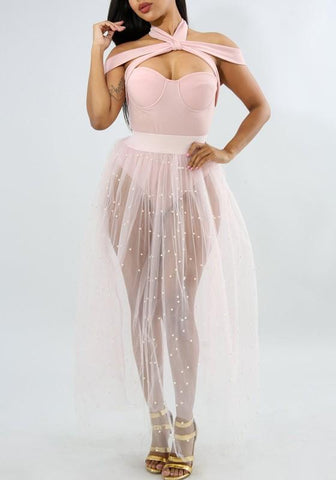 White Beaded Beading Grenadine Draped High Waisted Sheer Tutu Clubwear Party Long Skirt