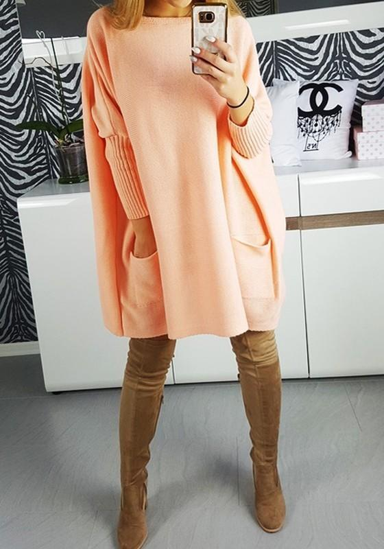 Orange Plain Pockets Round Neck Long Sleeve Pullover Sweater