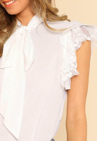 White Lace Ruffle Lace-up Chiffon Going out Blouse