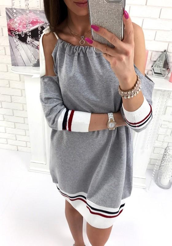 Grey Patchwork Pleated Cut Out Belt Round Neck Midi Dress