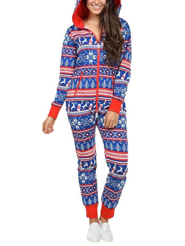 New Blue Christmas Elk Print Zipper Sleepwear Hooded Long Sleeve Long Jumpsuit Pants