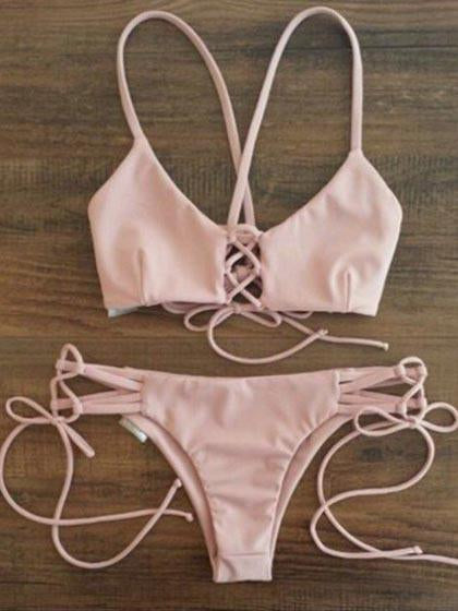 Pink Strappy Cross Bikini Top And Hipster Bottom