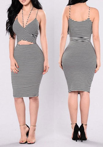 Black-White Striped Cut Out Spaghetti Strap Backless Bodycon Club Midi Dress