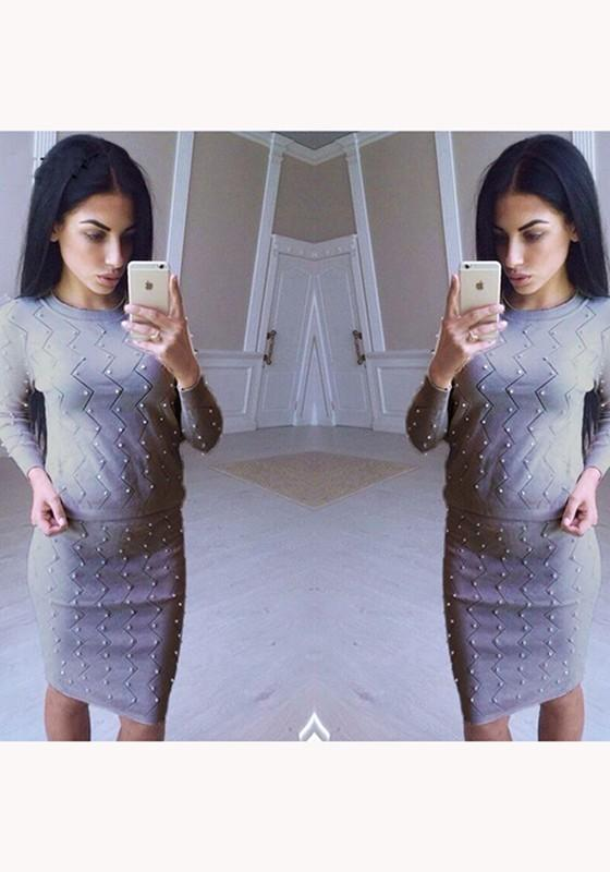 Grey Plain Pearl 2-in-1 Long Sleeve Fashion Midi Dress