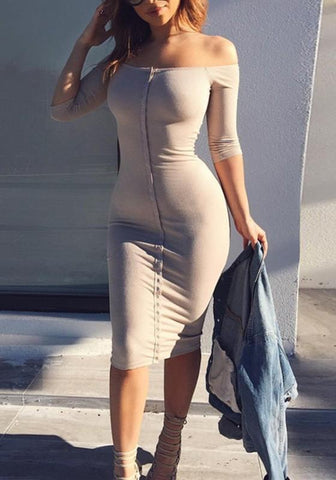 Khaki Plain Single Breasted Boat Neck Fashion Midi Dress