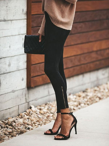 Black Zipper High Waisted Casual Sweet Going out Nine's Pants