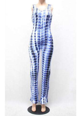 Blue Plaid Pockets Zipper V-neck Wide Leg One Piece Casual Long Jumpsuit