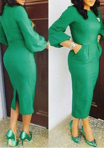 Green Pockets Slit Christmas Formal Lantern Sleeve Pencil Midi Dress