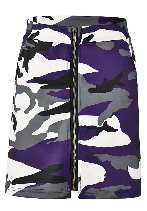 Purple Camouflage Print Zipper High Waisted Casual Party Skirt