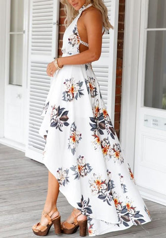 White Floral Cut Out Swallowtail Round Neck Fashion Midi Dress