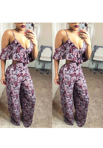 Purple Floral Ruffle Spaghetti Strap Deep V-neck Bohemian Wide Leg Long Jumpsuit