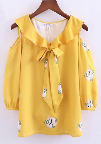 Yellow Patchwork Print Bow 3/4 Sleeve Off-Shoulder Falbala Casual Blouse