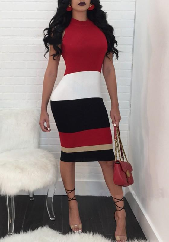 Red Striped Bodycon Clunwear Party Midi Dress