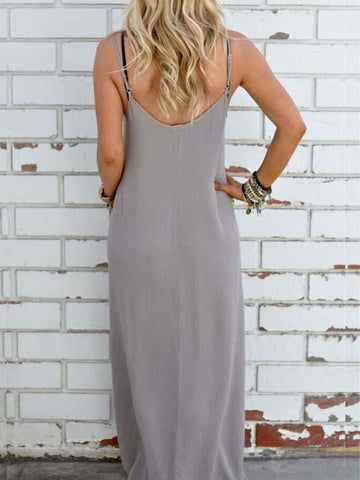 Casual Bandeau Straps Solid Color Dress
