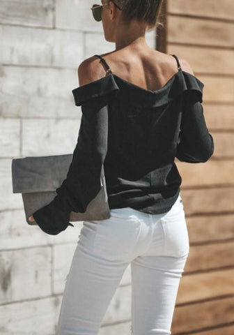 Black Cut Out Single Breasted V-neck Long Sleeve Blouse