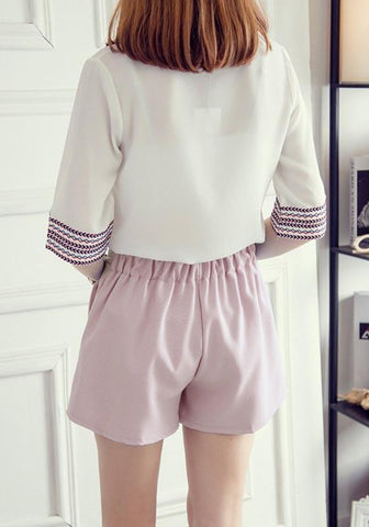 Light Pink Bow Pockets Pleated Comfy Homecoming Cute Shorts