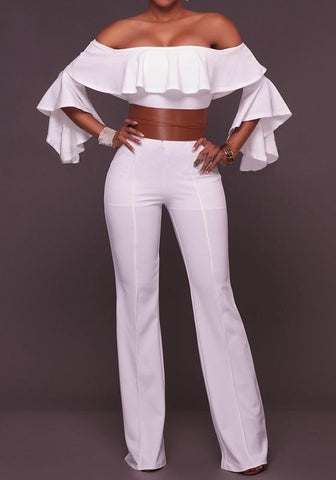 White Plain Ruffle Belt Boat Neck Long Jumpsuit