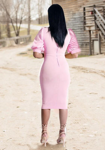 Pink Zipper Ruffle Bodycon Band Collar Elegant Party Midi Dress
