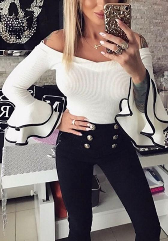 White Patchwork Ruffle Long Sleeve Slim T-Shirt