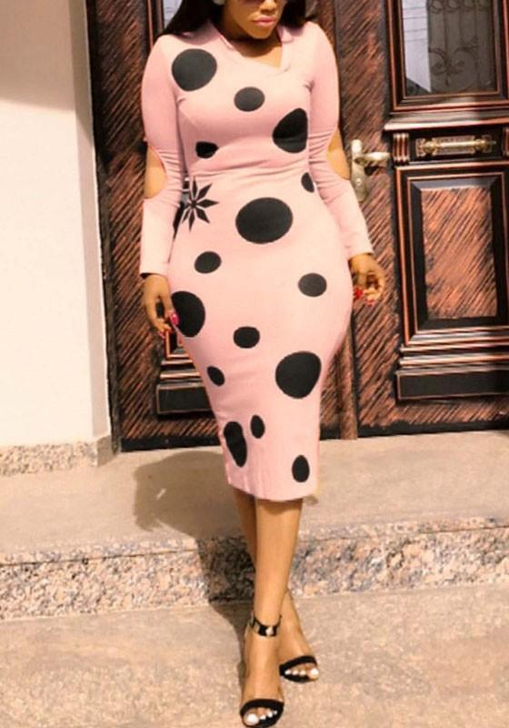 Pink Polka Dot Cut Out Long Sleeve Clubwear Bodycon Cocktail Party Midi Dresses