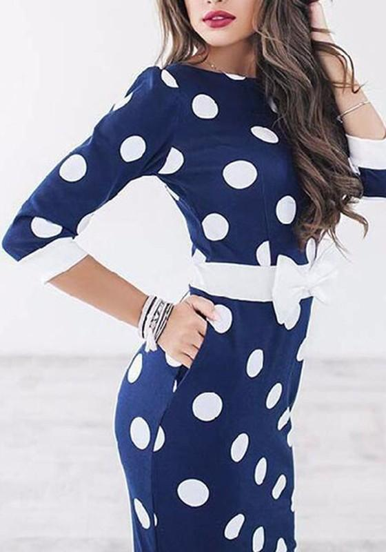Blue Polka Dot Print Bow 3/4 Sleeve Round Neck Fashion Midi Dress