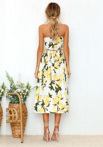 White Lemon Print Off Shoulder Two Piece High Waisted Beachwear Bohemian Midi Dress