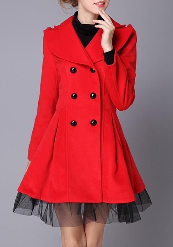 Blue Patchwork Grenadine Pleated Double Breasted Fashion Winter Coat