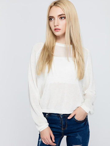 Elegant White Soft Long Sleeve Loose Short Sweater Tops