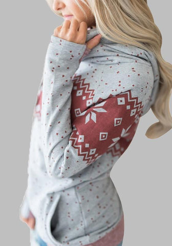 Grey Snowflake Print Drawstring Plus Size Pockets Double Hooded Christmas Casual Pullover Sweatshirt