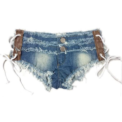 Blue Lace Up Buttons Low-rise Casual Short Jeans